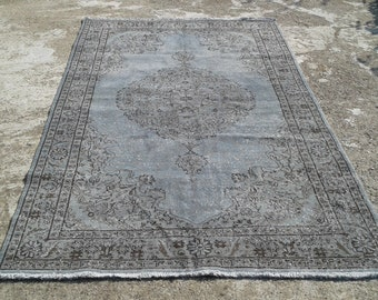 """Big Sale %50 off overdyed rug,anatolian vintage turkish rugs,decorative area rugs,handwoven carpets,natural wool carpet 5'6""""x 8'8"""" ft"""