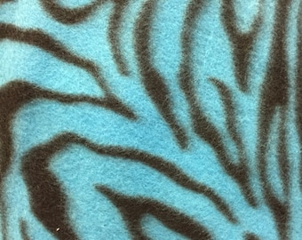 Zebra Animal Print Fleece Fabric Teal Blue by the yard
