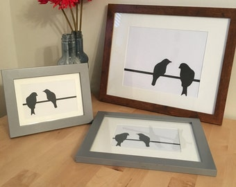 The Duo: Paper cutout, bird on wire, framed, art