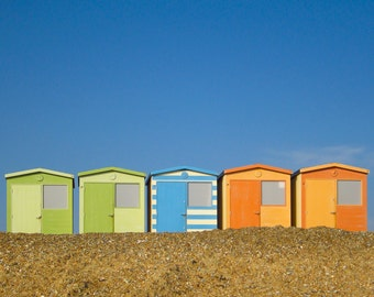 Beach huts at the seaside in Seaford, UK