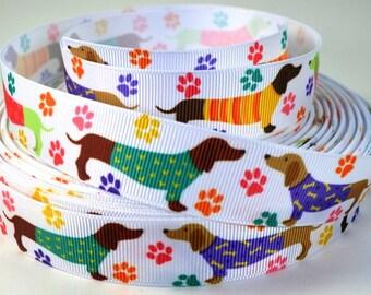 "7/8"" Dachshund Dogs Wearing Sweaters - Grosgrain Ribbon"