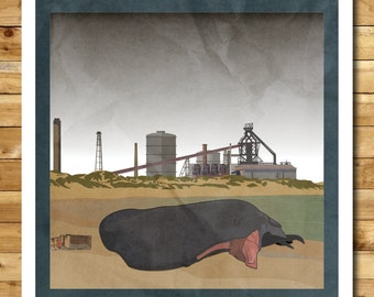 Redcar: Dystopia-on-Sea - A3 Rubbish Seaside print (signed and dated)