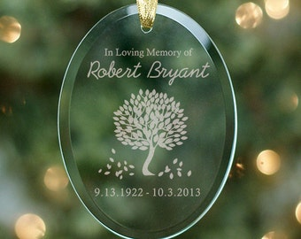 Personalized  Memorial ornament Personalized Tree of LifeChristmas Tree Memorial Ornament In Loving Memory Glass Keepsake