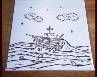 Sinking Ship Nautical Pirate greeting card