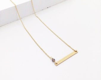 Gold Bar necklace,Grey moon stone,14K gold filled