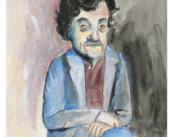 Kurt Vonnegut painted portrait A5 PRINT