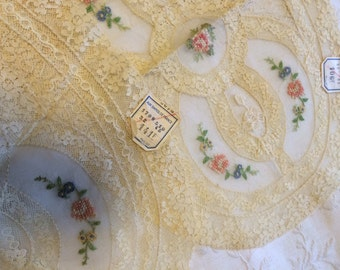 Four Vintage Handmade Cottage Chic French lace cross stitch doilies/dresser scarves with tags