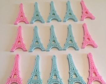 5 pc Mixed Pastel colours Eiffel Tower Paris Flatback Resin Cabochon. Kitsch Kawaii Decoden. Diy phone deco. Favors Charms Jewellery Bows