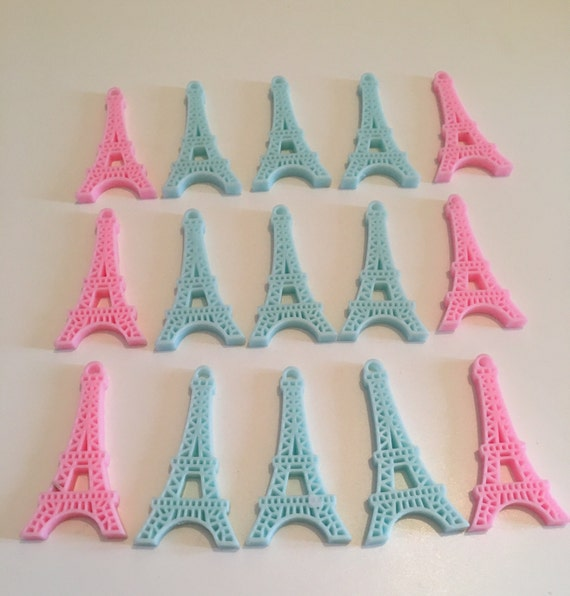 5 pc Mixed Pastel colours Eiffel Tower Paris Flatback Resin Cabochon. Kitsch Kawaii Decoden. Diy phone deco. Favors Charms Jewellery Bows