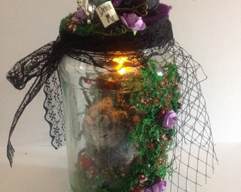 Wonderland capture jar/ decor/ alice in wonderland/ cheshire cat