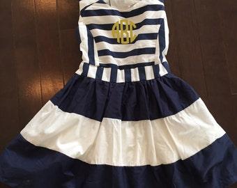 Striped Monogram Dress, Navy and White Dress, Navy Dress, Birthday Outfit, Birthday Dress, Sailor Dress