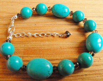 Turquoise and Faceted Smokey Quartz Bracelet