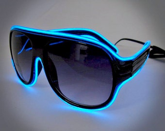 EL Wire Aviator Sunglasses - Light Up Sunglasses great for Burning Man, Costumes, Rave Wear, EDM Wear, Festivals, Cosplay, Pep Rally, etc.