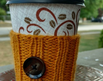 Coffee Cozy: Yellow with Brown Button