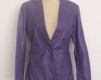 Vintage 70s purple real leather blazer