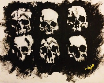 Collection of Skulls, Gothic, Art, Horror, Industrial, Punk, Macabre, Catacomb, Skeleton, Painting, Halloween