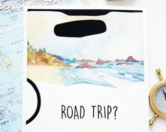 Road Trip Print - Wall Art - 8x10 and 11x14 Hand Painted Art Print