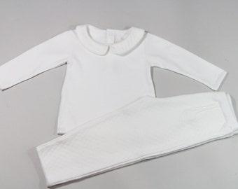 Baby Girl Pima Cotton Peter Pan Collar Top and Pant White Set - 9M