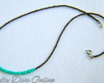 Turquoise and Gray Beaded Necklace