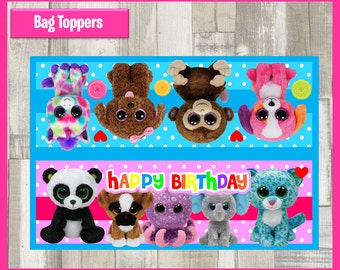 80% OFF SALE  Beanie Boo Party Toppers instant download, Printable Birthday favors Beanie Boo Bags Topper, Beanie Boo Party Bags Topper
