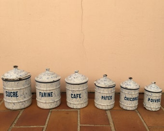 RARE set of 6 vintage Canisters / Containers enamel stamped