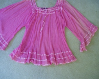 Vintage Hot Pink Gauze Boho/Hippie/Mexican Blouse
