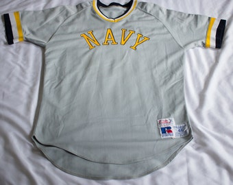 Vintage RARE 80s Navy Authentic away game Baseball jersey #7 Size 46 Russell Athletic Naval Academy