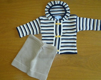 3-6 months Baby Handmade Outfit Cappuccino, Cream and Navy