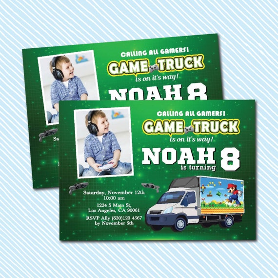 Digital Printable Game Truck Birthday Invitation. By