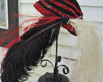 1940's Red and Black Hat Plumes   Red Rhinestones Black Plume White Plume Womans Vintage Hat Free Shipping