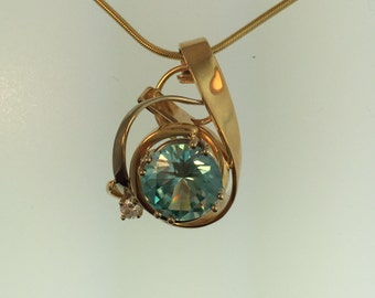 Custom Designed, Handcrafted 14-Karat Blue Zircon and Diamond Pendant