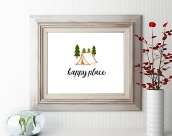 Printable wall art decor happy place camping tent trees nature