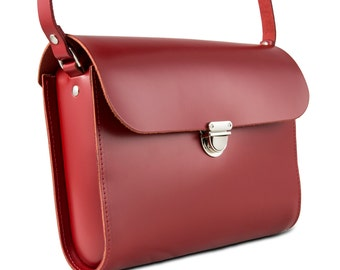 Red Leather Crossbody/Shoulder Bag made in London