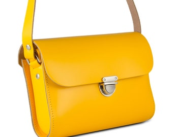 Yellow Small Leather Crossbody/Shoulder Bag, Made in London