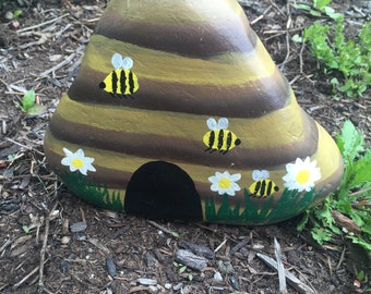 Hand painted beehive garden stone