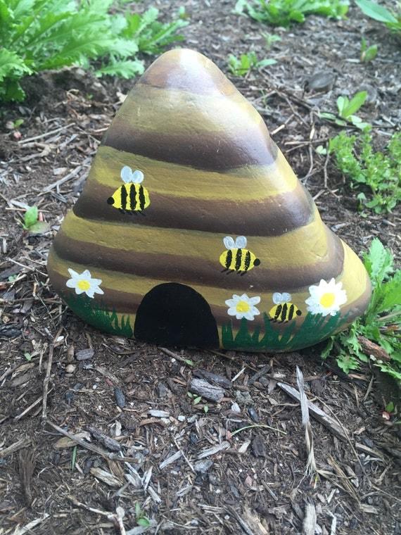Hand painted beehive garden stone - Hand painted garden stones ...