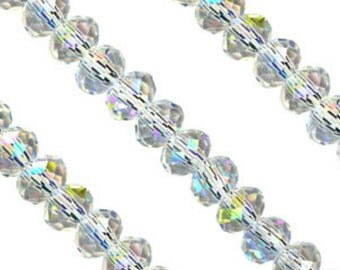 Rondelle Crystal Beads, Crystal Rondelle Beads, Faceted Crystal Beads, 3x4 Rondelle Beads, Alexia Silver