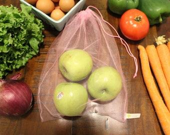 Reusable Mesh Produce Bags, Set of 3 Pink Zero Waste Shopping Bags