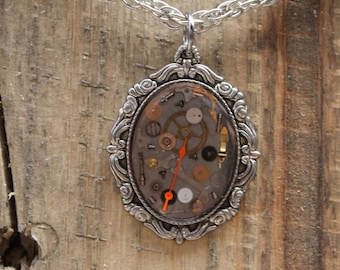 Pewter Watch Gears Cameo Pendant
