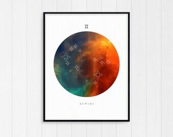 Gemini Print, Zodiac art print, Gemini Printable Birthday Gift, Gemini Constellation, Horoscope Decor, Digital Download, Zodiac Art poster