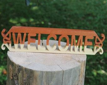 Cedar Welcome Sign Dark Top
