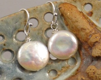 White Irridescent Freshwater Coin Pearl Earrings