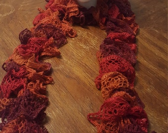 Orange and Red Knit Ruffle Scarf