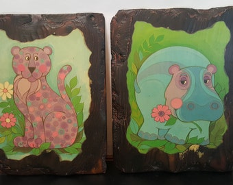 Early 70s Vibrant Colorful Groovy Animals J. HAND Print Tiger Hippo Artwork Decoupage Wall Hanging Set of 2 on Wood Hippie