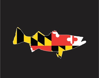 Maryland Flag Rockfish Sticker