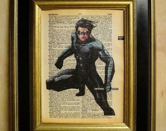 Nightwing Art Print on Vintage Dictionary page