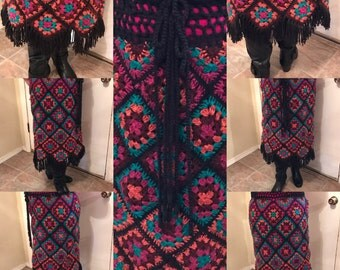 Granny Square Crocheted Skirt W/ Fringe RETRO Pattern is from 1970's.