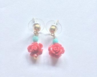 Rose handmade earrings.