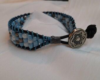 Beaded: Blue & Silver Beaded Wrap Bracelet