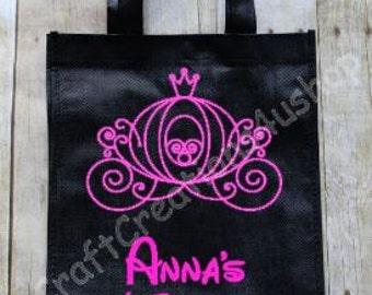 Trick or Treat Bag, Halloween Treat Bag, Personalized Vinyl Bag, Princess Treat Bag, Cinderella's Carriage Trick or Treat Bag